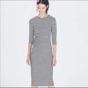 Zara bodycon midi dress - navy & white stripes